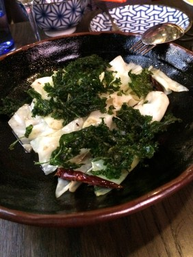 Stir-fried white cabbage with dried chilli, Sichuan pepper and crispy kale